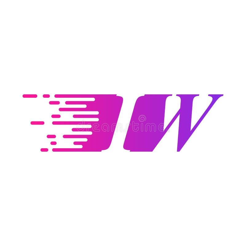 Początkowy list IWA pości ruszający się logo purpur menchii wektorowego kolor ilustracja wektor