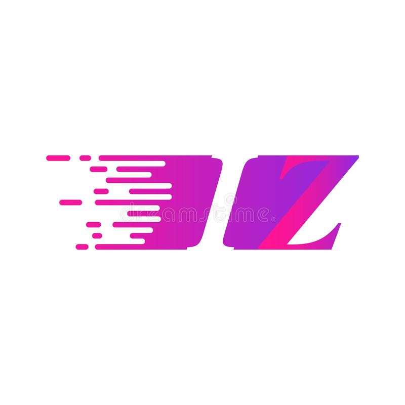 Początkowy list IZ pości ruszający się logo purpur menchii wektorowego kolor royalty ilustracja