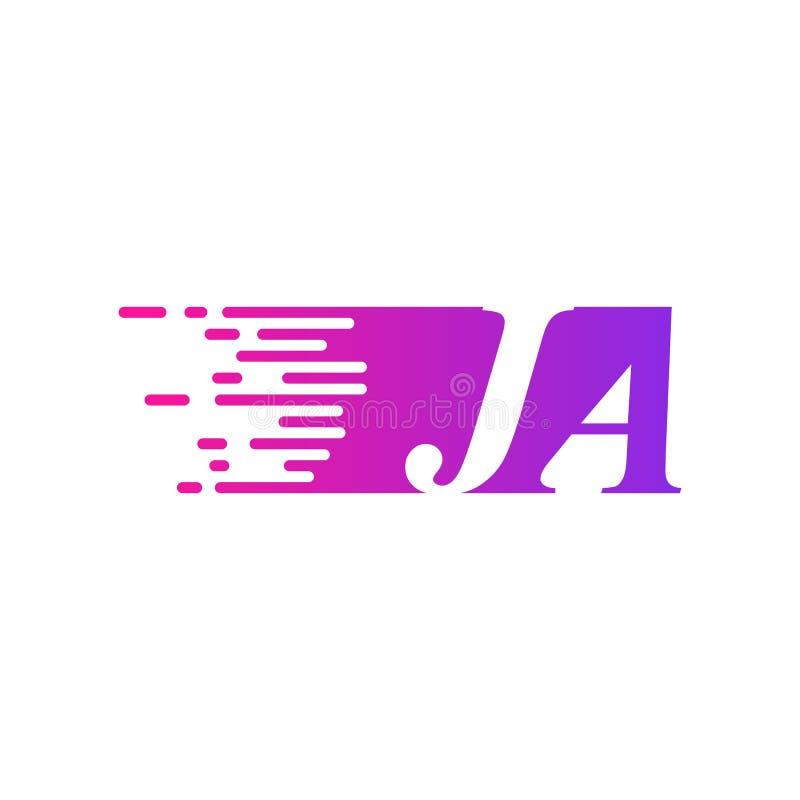 Początkowy list JA pości ruszający się logo purpur menchii wektorowego kolor ilustracji