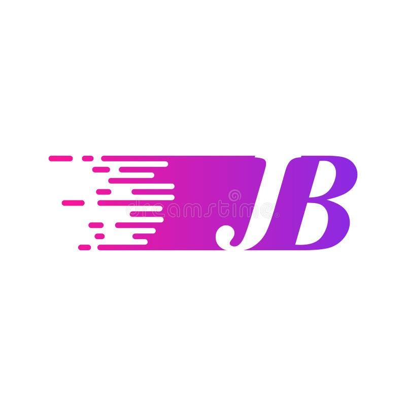 Początkowy list JB pości ruszający się logo purpur menchii wektorowego kolor ilustracja wektor