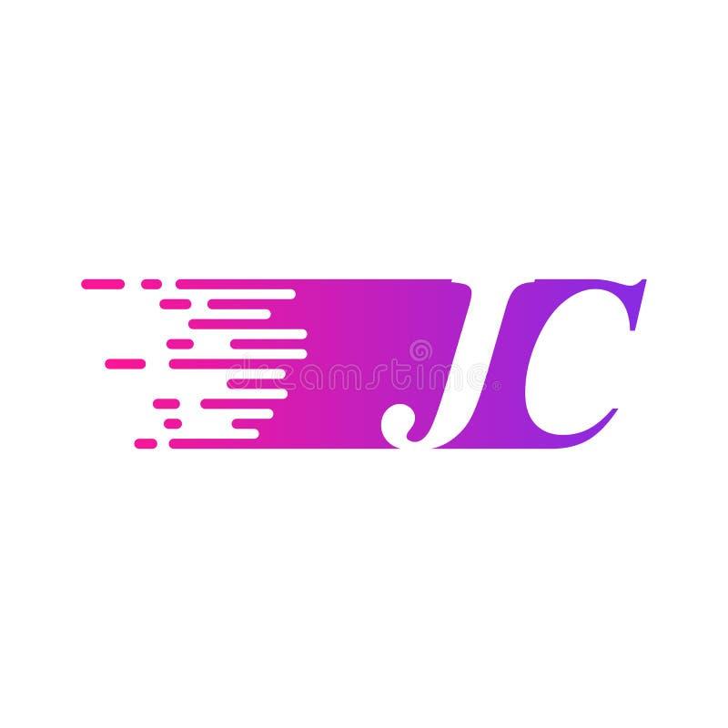 Początkowy list JC pości ruszający się logo purpur menchii wektorowego kolor ilustracji