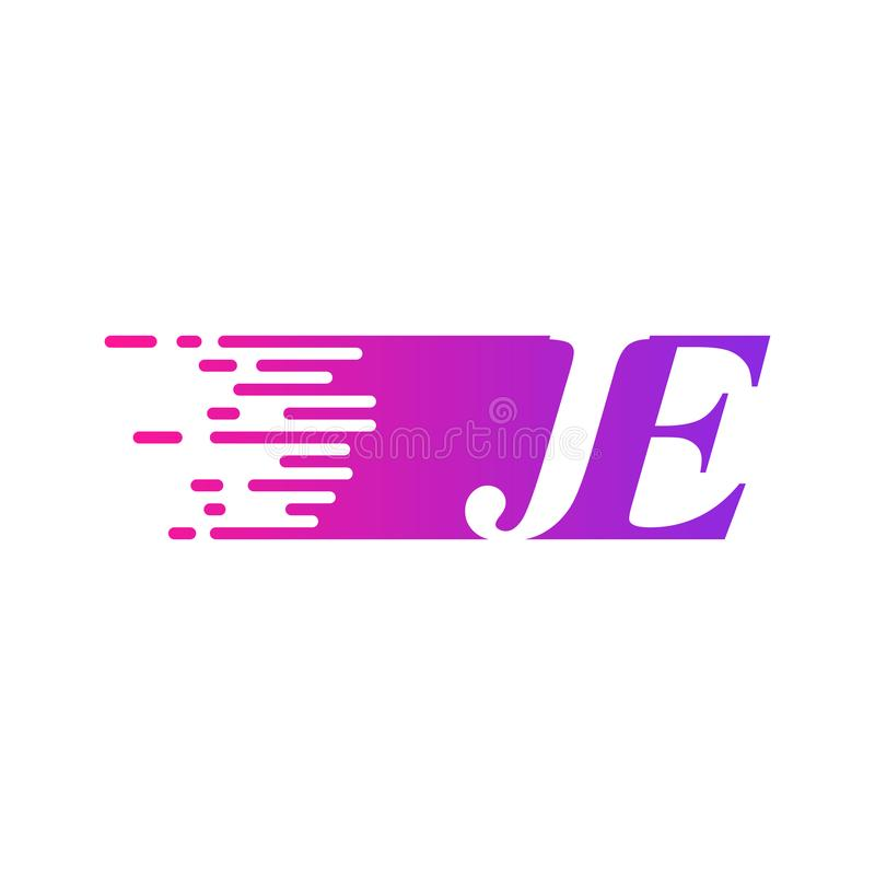 Początkowy list JE pości ruszający się logo purpur menchii wektorowego kolor ilustracji