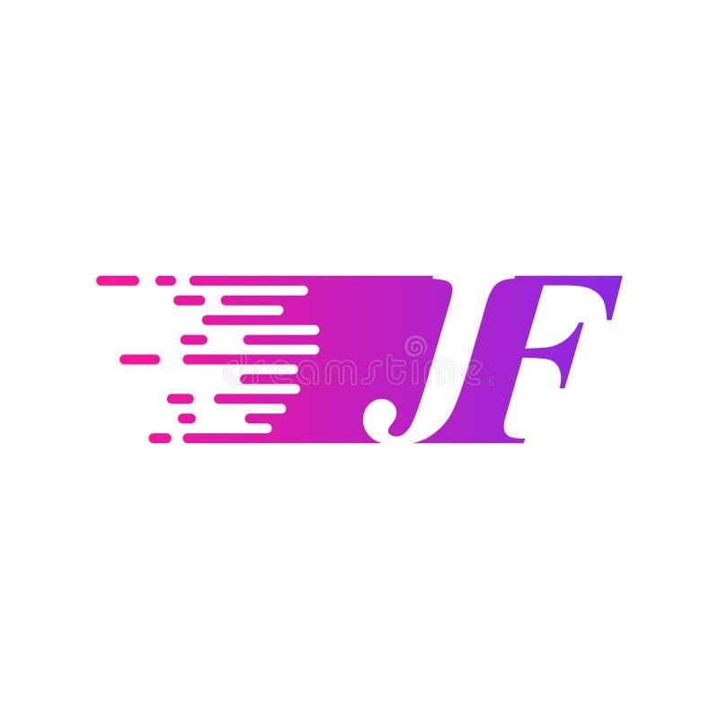 Początkowy list JF pości ruszający się logo purpur menchii wektorowego kolor royalty ilustracja