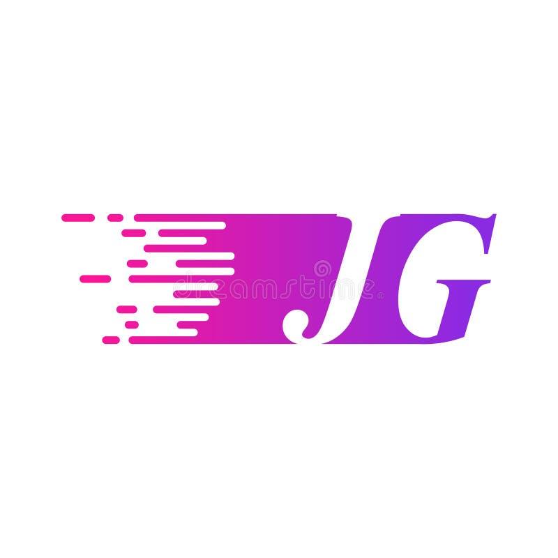 Początkowy list JG pości ruszający się logo purpur menchii wektorowego kolor royalty ilustracja