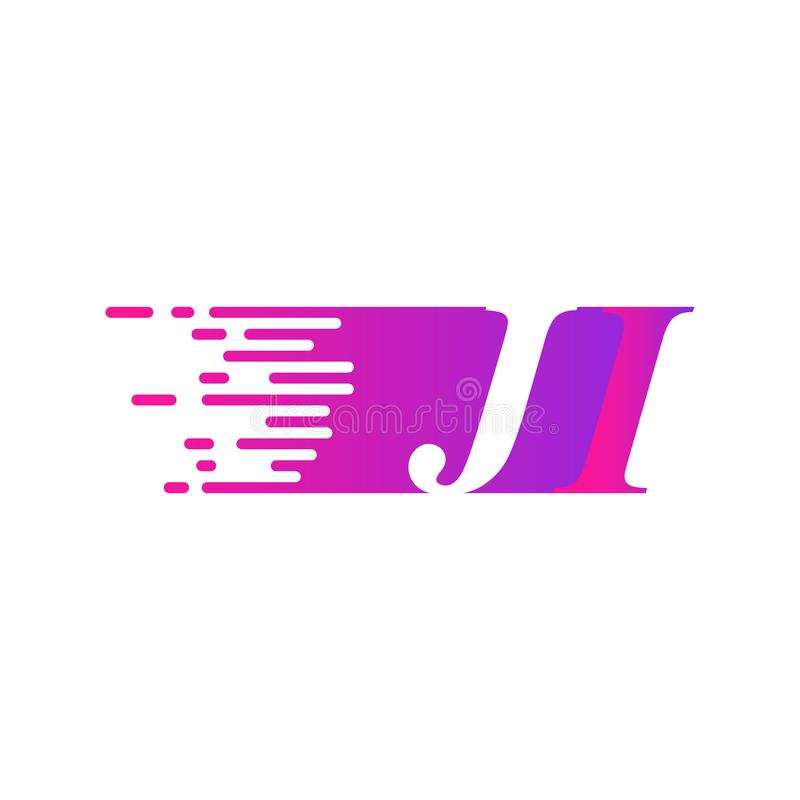Początkowy list JI pości ruszający się logo purpur menchii wektorowego kolor royalty ilustracja
