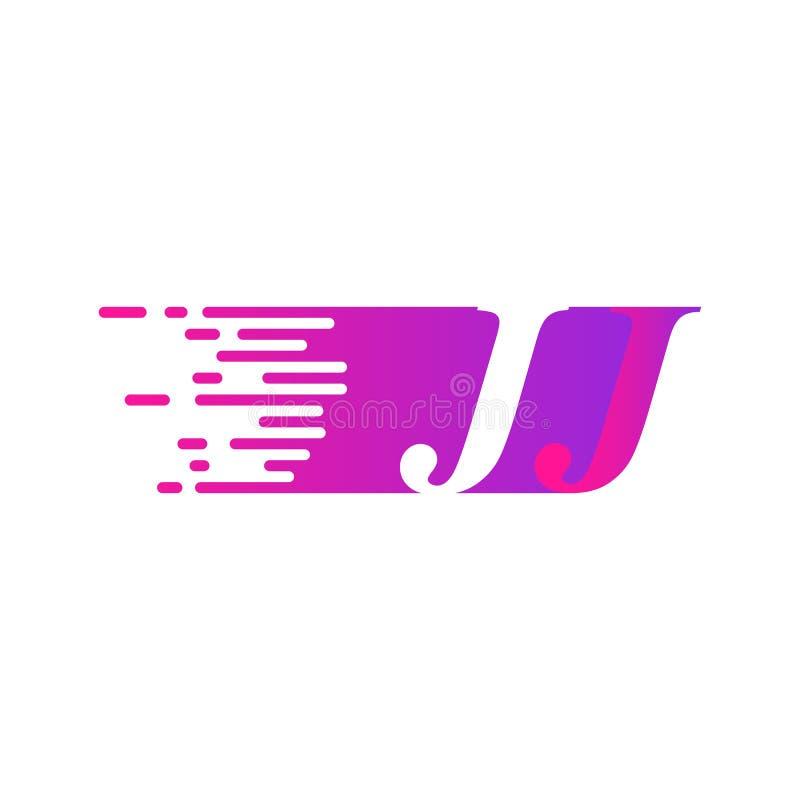Początkowy list JJ pości ruszający się logo purpur menchii wektorowego kolor ilustracji
