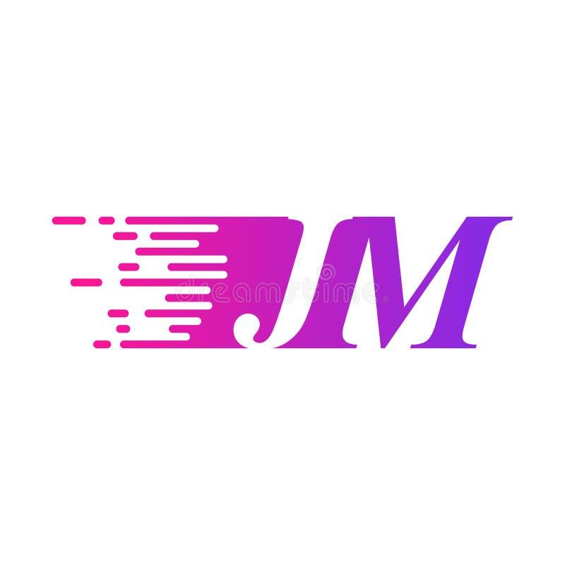 Początkowy list JM pości ruszający się logo purpur menchii wektorowego kolor royalty ilustracja