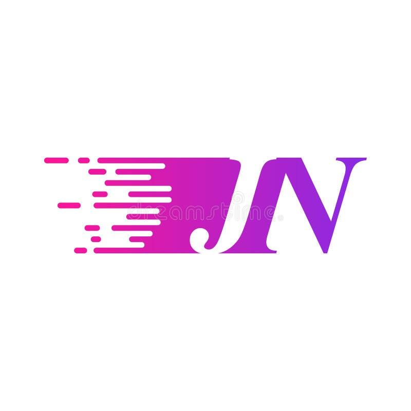 Początkowy list JN pości ruszający się logo purpur menchii wektorowego kolor ilustracja wektor