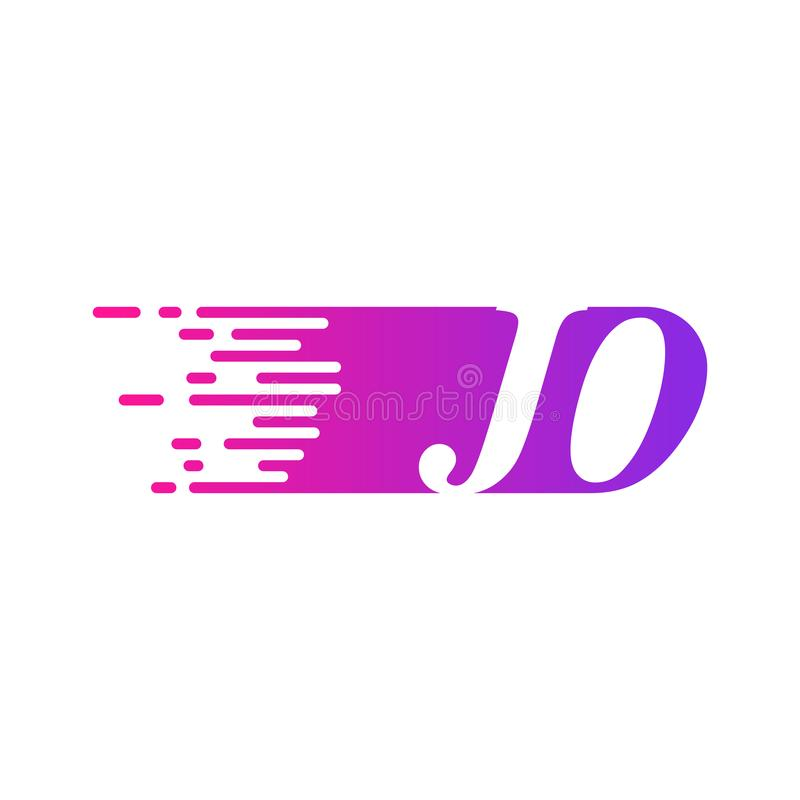 Początkowy list JO pości ruszający się logo purpur menchii wektorowego kolor royalty ilustracja