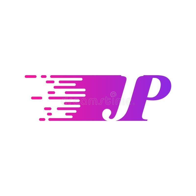 Początkowy list JP pości ruszający się logo purpur menchii wektorowego kolor royalty ilustracja