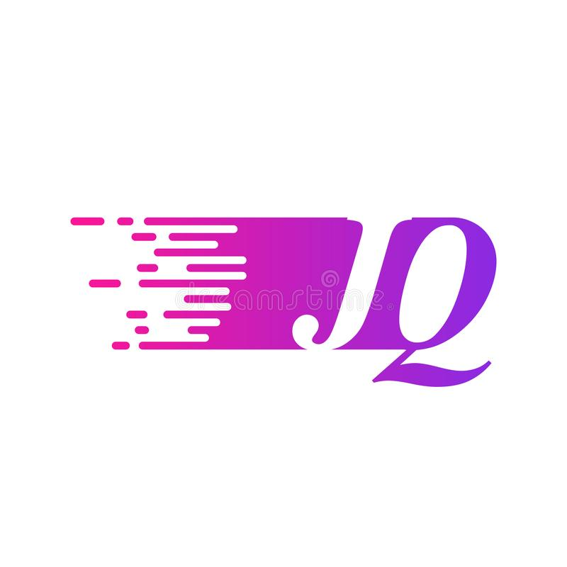 Początkowy list JQ pości ruszający się logo purpur menchii wektorowego kolor ilustracji