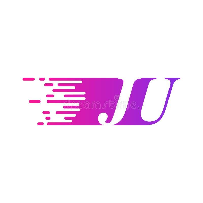 Początkowy list JU pości ruszający się logo purpur menchii wektorowego kolor ilustracji
