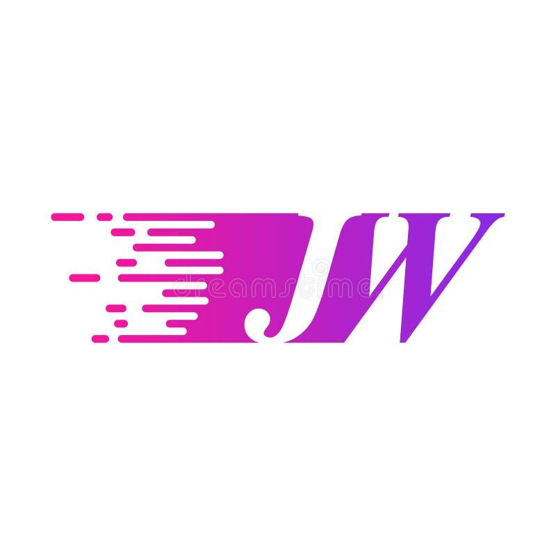 Początkowy list JW pości ruszający się logo purpur menchii wektorowego kolor ilustracji