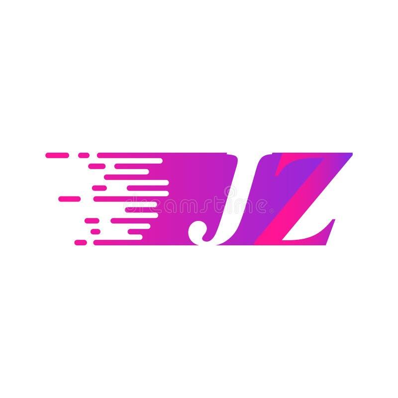 Początkowy list JZ pości ruszający się logo purpur menchii wektorowego kolor ilustracja wektor