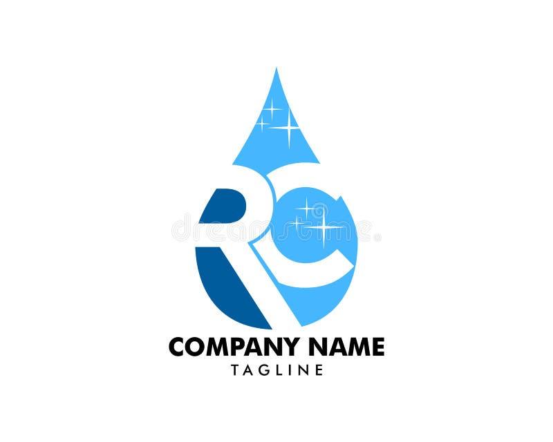 Początkowy list RC Z wody kropli logo projekta wektoru szablonem ilustracji