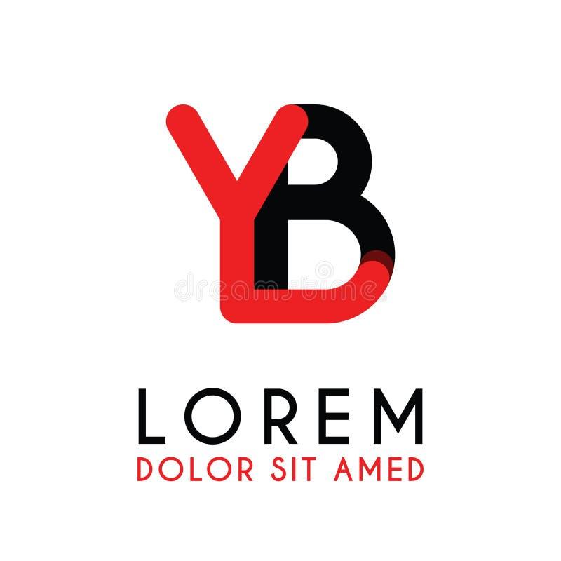 początkowy list YB z czerwony Czarnym i zaokrąglał kąty ilustracja wektor