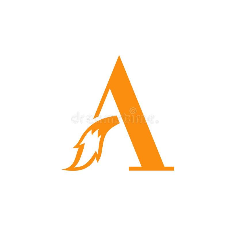 Początkowy list A z lisa ogonu logo royalty ilustracja