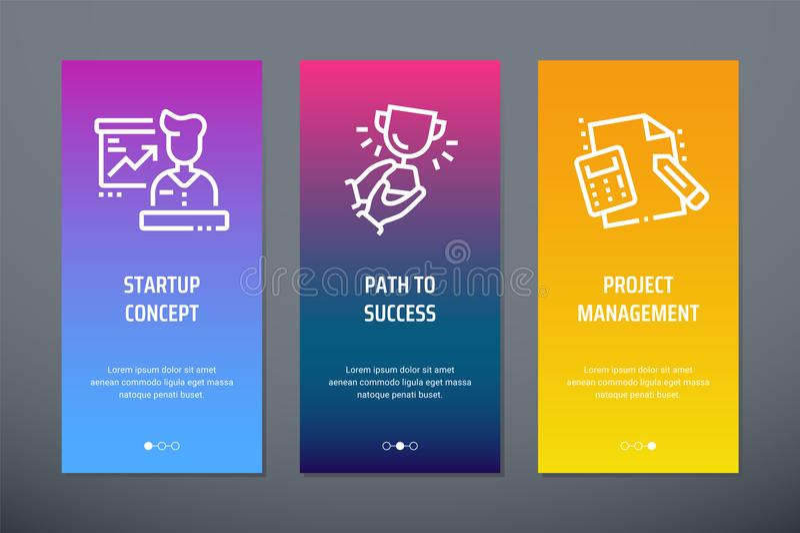 Początkowy pojęcie, ścieżka sukces, zarządzania projektem Vertical karty z silnymi metaforami royalty ilustracja