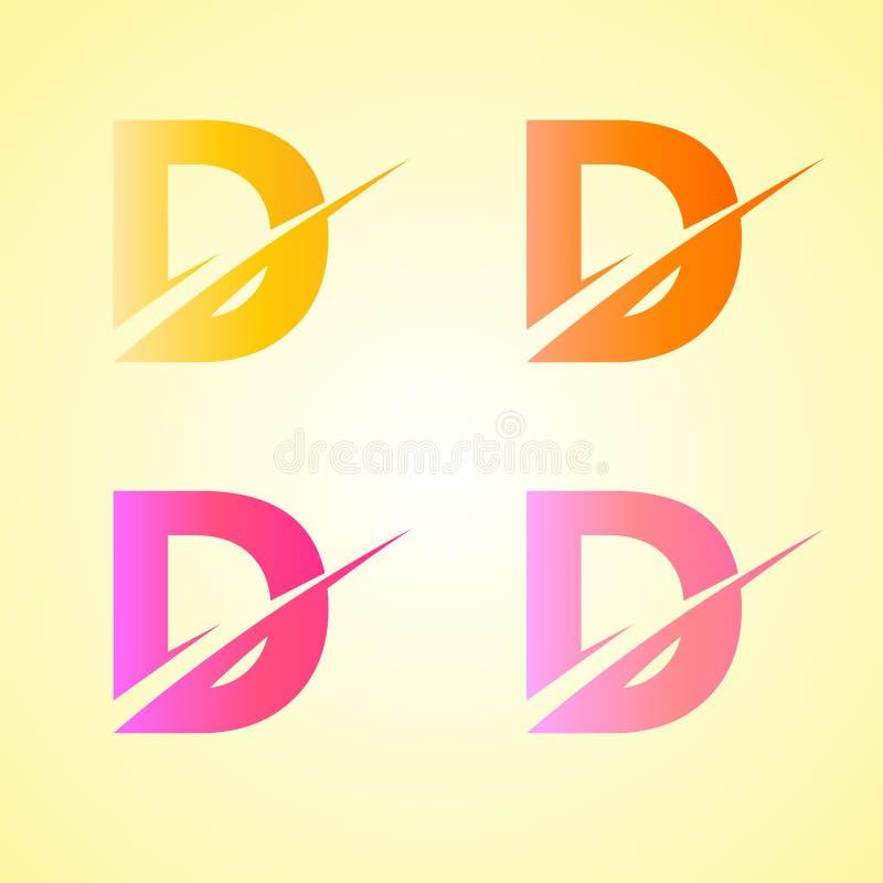 Pocz?tkowego listu d logo projekt Z?oty kolor ilustracji