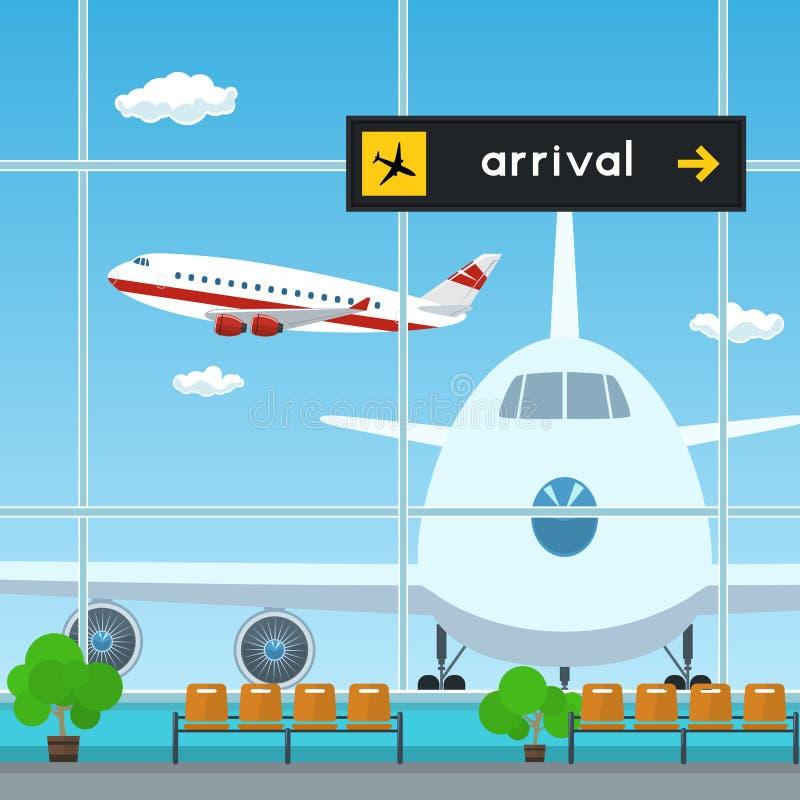 Poczekalnia przy lotniskiem, tablica wyników przyjazdy ilustracji