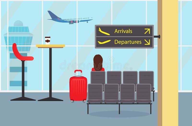 Poczekalnia przy lotniskowym siedzeniem, kobieta pasażer z walizką, informacja podpisuje Płaski brać daleko outside, wieża kontro ilustracji