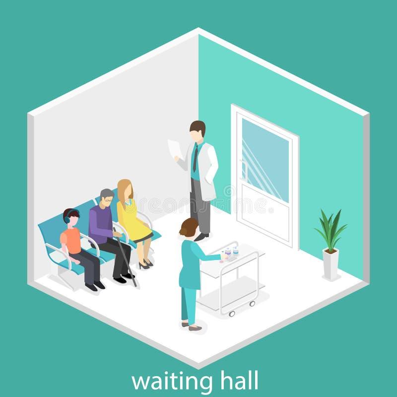 Poczekalnia przy szpitalem Goście siedzą na krzesłach w korytarzu pacjent czeka otrzymywać lekarkę ilustracja wektor