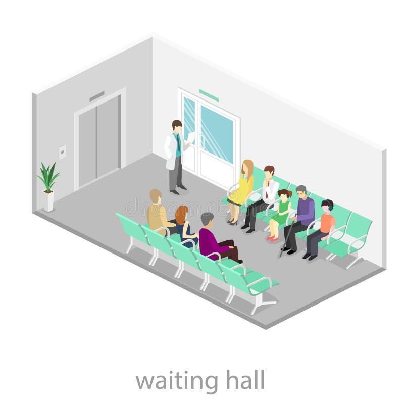 Poczekalnia przy szpitalem Goście siedzą na krzesłach w korytarzu pacjent czeka otrzymywać lekarkę ilustracji