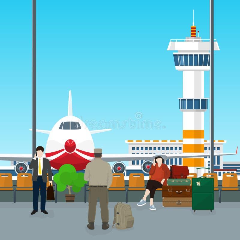Poczekalnia w lotnisku ilustracji