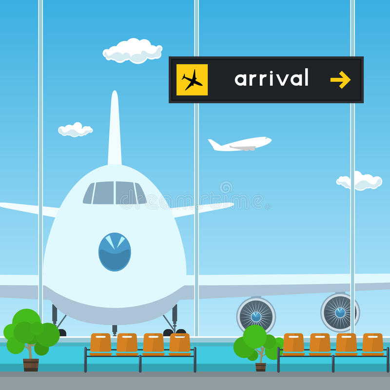 Poczekalnia w lotnisku, tablica wyników przyjazdy ilustracja wektor