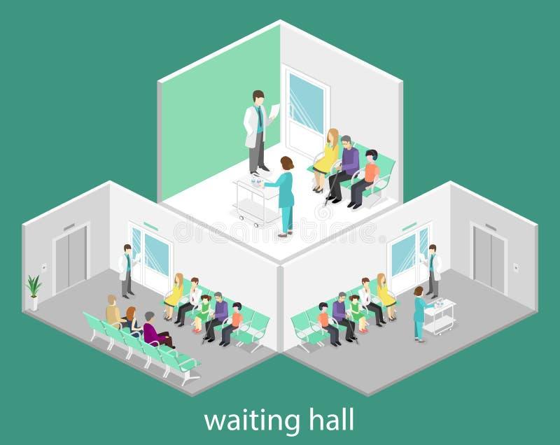 Poczekalnia w szpitalu Goście siedzą na krzesłach w korytarzu pacjent czeka otrzymywać lekarkę ilustracji