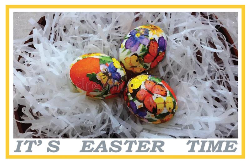 Pocztówka lub sztandar z przypomnieniem który kontynuuje Wielkanocny tydzień ilustracji