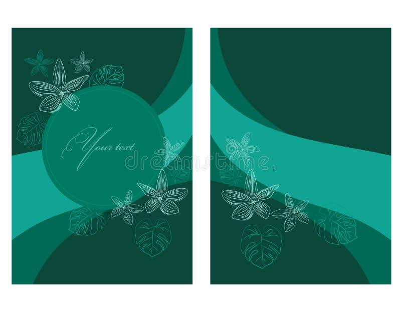 Pocztówka lub zaproszenie delikatnymi, lekkimi i tropikalni liście Ylang Ylang i kwiat z konturami ilustracja wektor