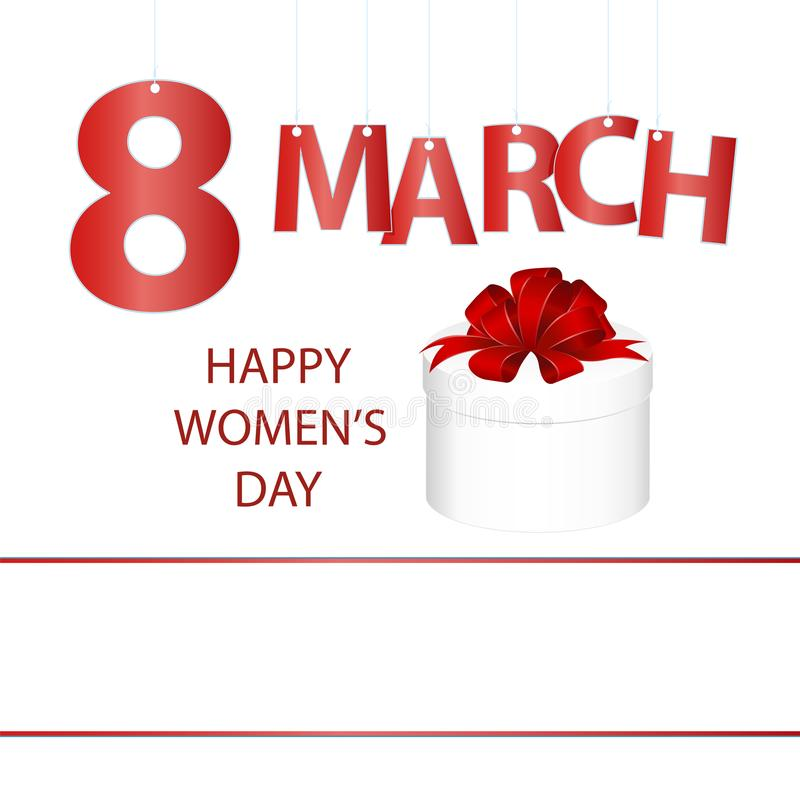 Pocztówka 8 Marzec, macierzysty ` s dzień z prezenta pudełkiem z czerwonym łękiem, Międzynarodowy Szczęśliwy kobiety ` s dzień ilustracji