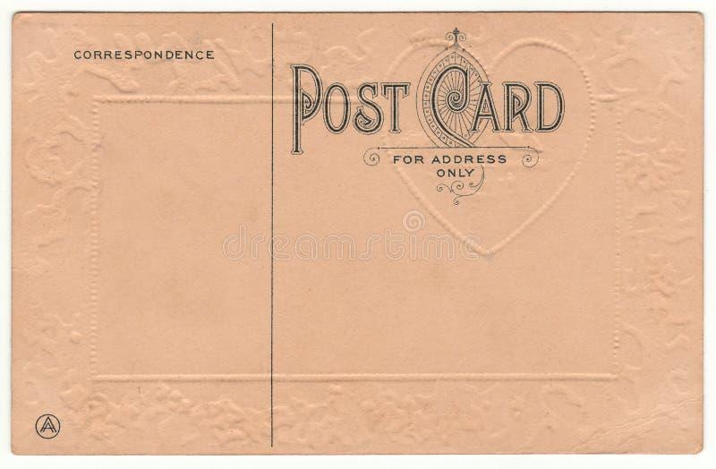 1910 pocztówka plecy z Embossed sercem obrazy stock