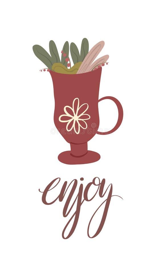 Pocztówka z filiżanką herbata z ulistnieniem, jagody i literowanie, enjoy Pionowo lato karta z kaligrafią Wektorowa mieszkanie po royalty ilustracja