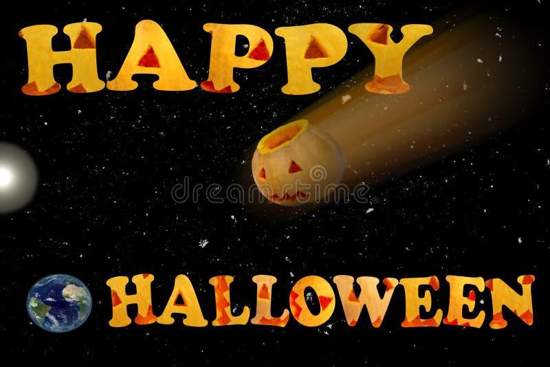 Pocztówka z słowami Szczęśliwy Halloween Śmiertelna gwiazda obrazy stock