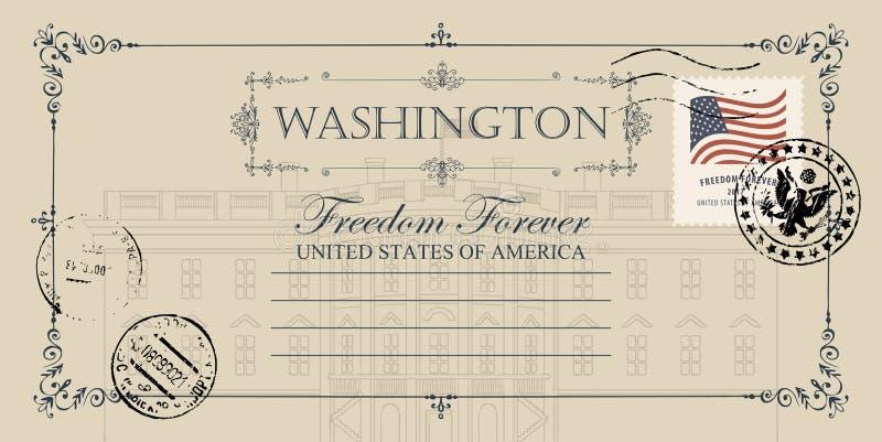 Pocztówka z USA bielu domem w washington dc ilustracja wektor