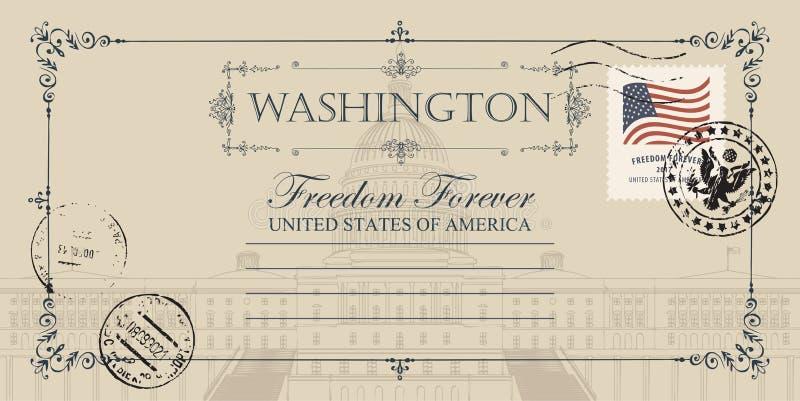 Pocztówka z USA Capitol budynkiem w washington dc ilustracji
