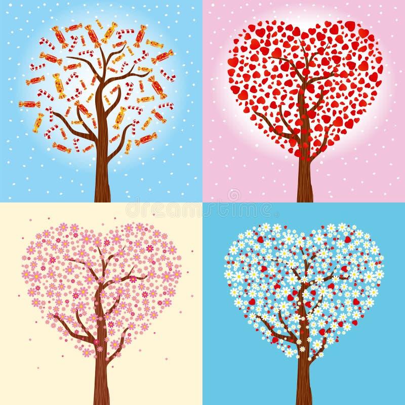 Pocztówki dla bożych narodzeń, nowego roku i walentynki ` s, dzień Wakacyjna zima & wiosny kolekcja drzewa w kierowym kształcie w royalty ilustracja