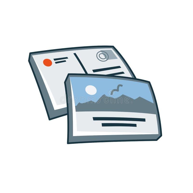 Pocztówki lub kartka z pozdrowieniami ikona w kreskówka stylu ilustracji