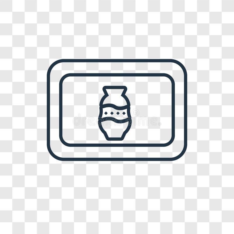 Pocztówki pojęcia wektorowa liniowa ikona odizolowywająca na przejrzystym bac ilustracji