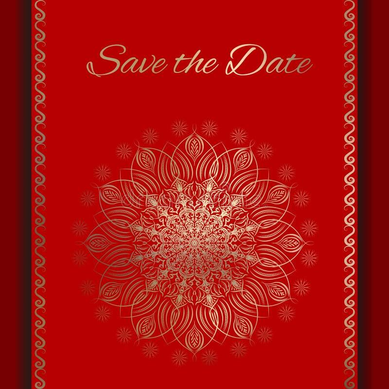 Pocztówki Save data w czerwieni i złocie ilustracji