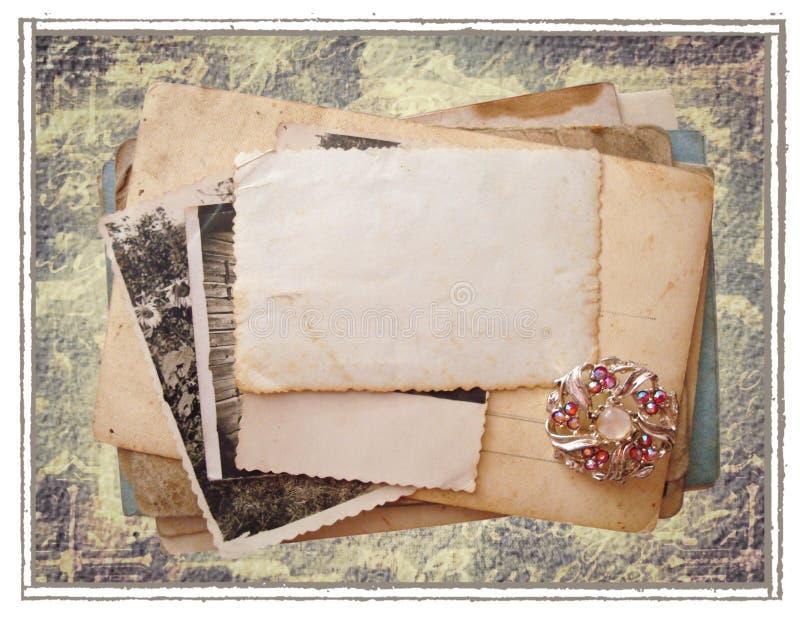 pocztówki stara sterta ilustracja wektor