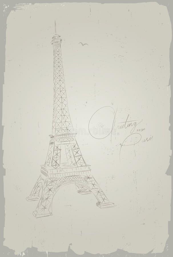 Pocztówkowa wieża eifla, Paryż, Francja royalty ilustracja