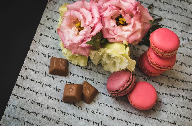 Pocztówkowi macaroons i kwiaty z czekoladą, na białej księdze zdjęcie stock