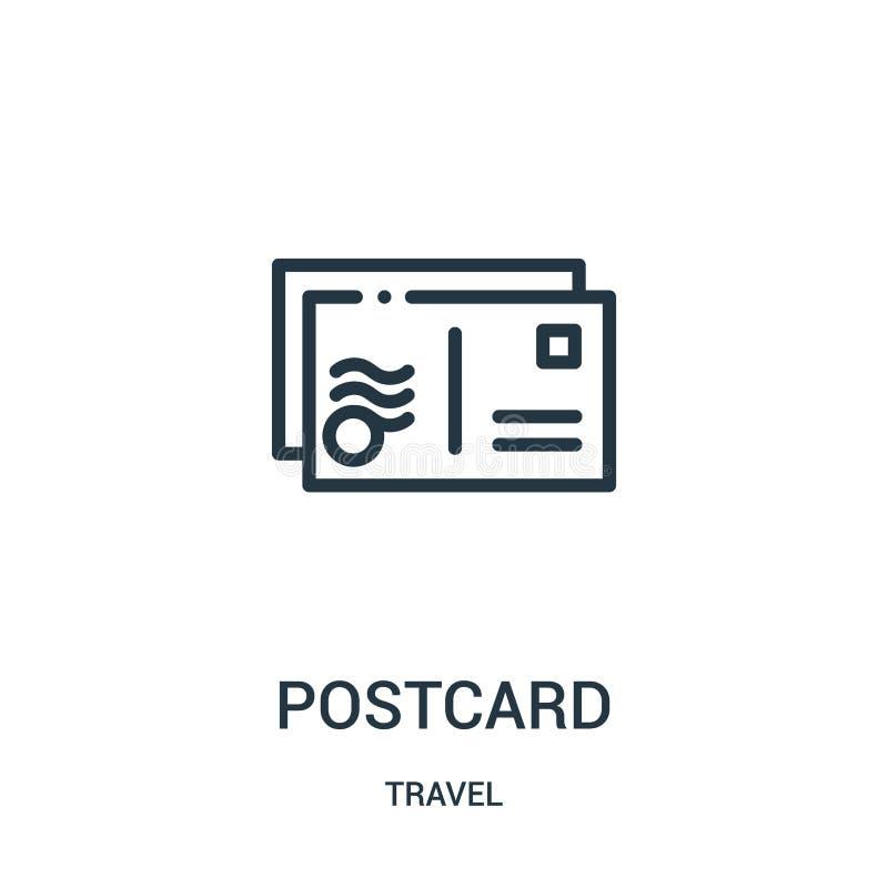 pocztówkowy ikona wektor od podróży kolekcji Cienka kreskowa pocztówkowa kontur ikony wektoru ilustracja Liniowy symbol dla używa royalty ilustracja