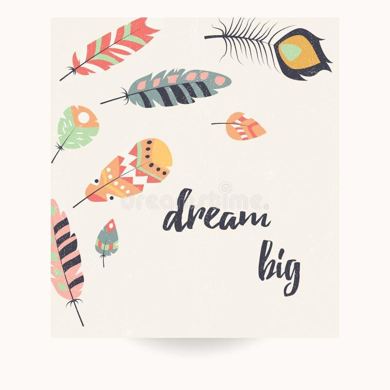 Pocztówkowy projekt z inspiracyjną wycena i artystycznymi kolorowymi piórkami ilustracji
