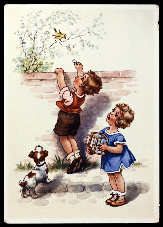 pocztówkowy rocznik royalty ilustracja