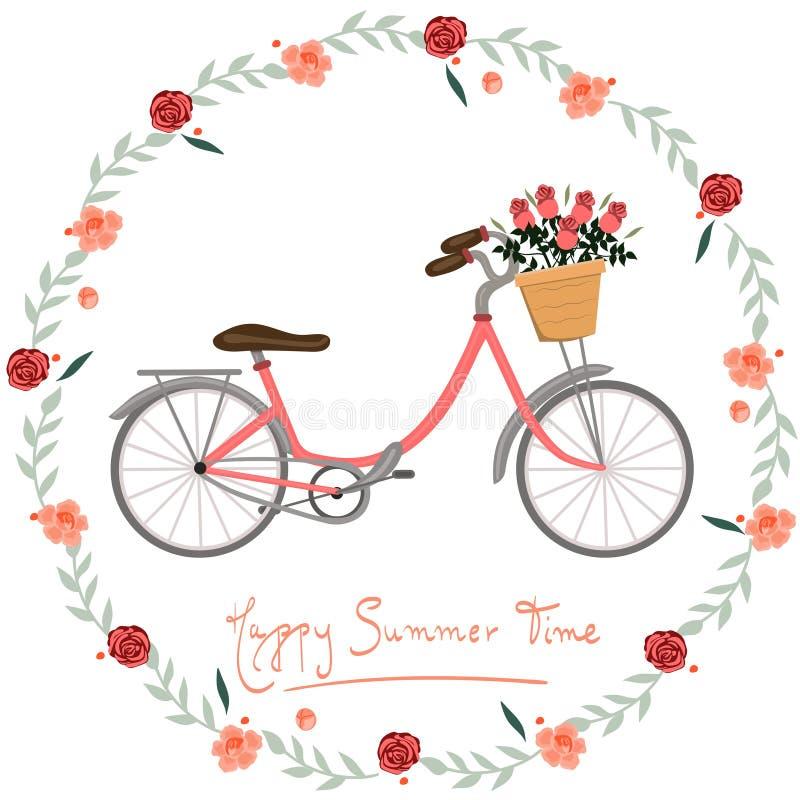 Pocztówkowy Szczęśliwy lato czas z roweru i kwiatów wektoru wizerunkiem ilustracji
