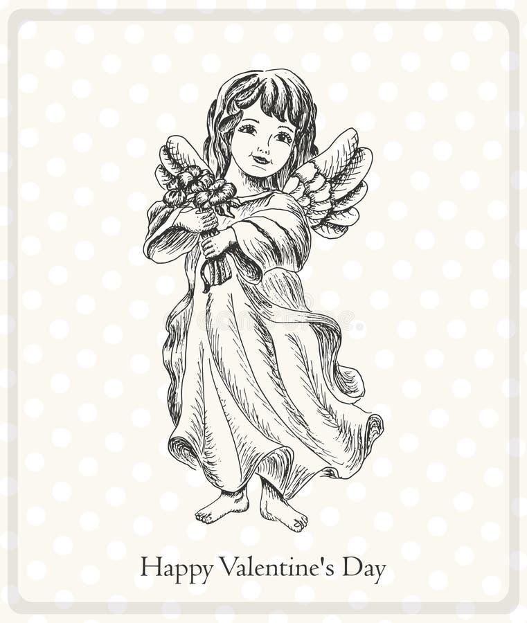 Pocztówkowy Szczęśliwy walentynka dzień z aniołem royalty ilustracja